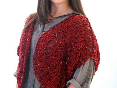 Bolero Vermelho em crochê de grampo duplo - Helen Mareth