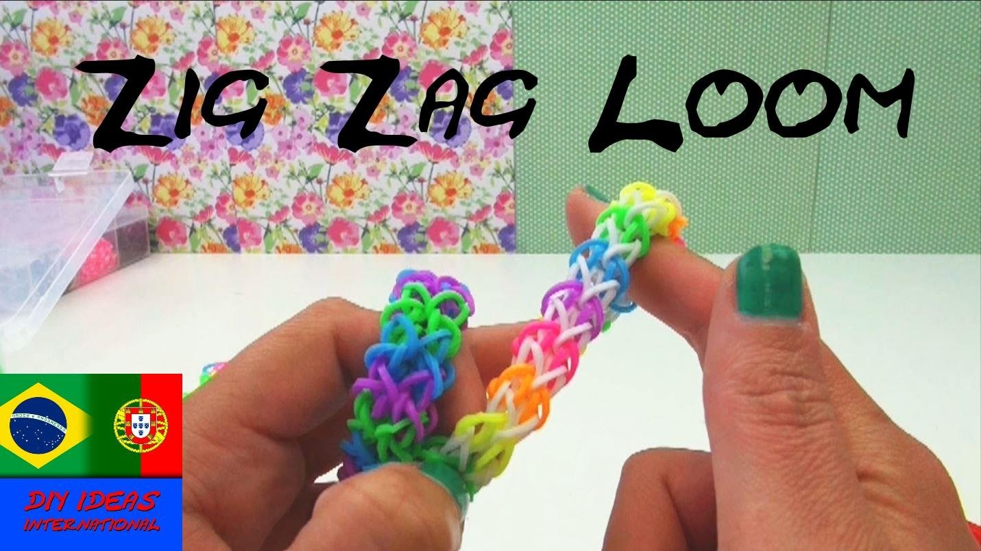 Como fazer pulseiras de elástico ZIGUEZAGUE com garfo Tutoriais em Português Rainbow Loom zigzag