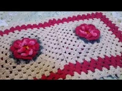 Flor Pétalas em Cone Crochê PAP parte 1 tapete floral