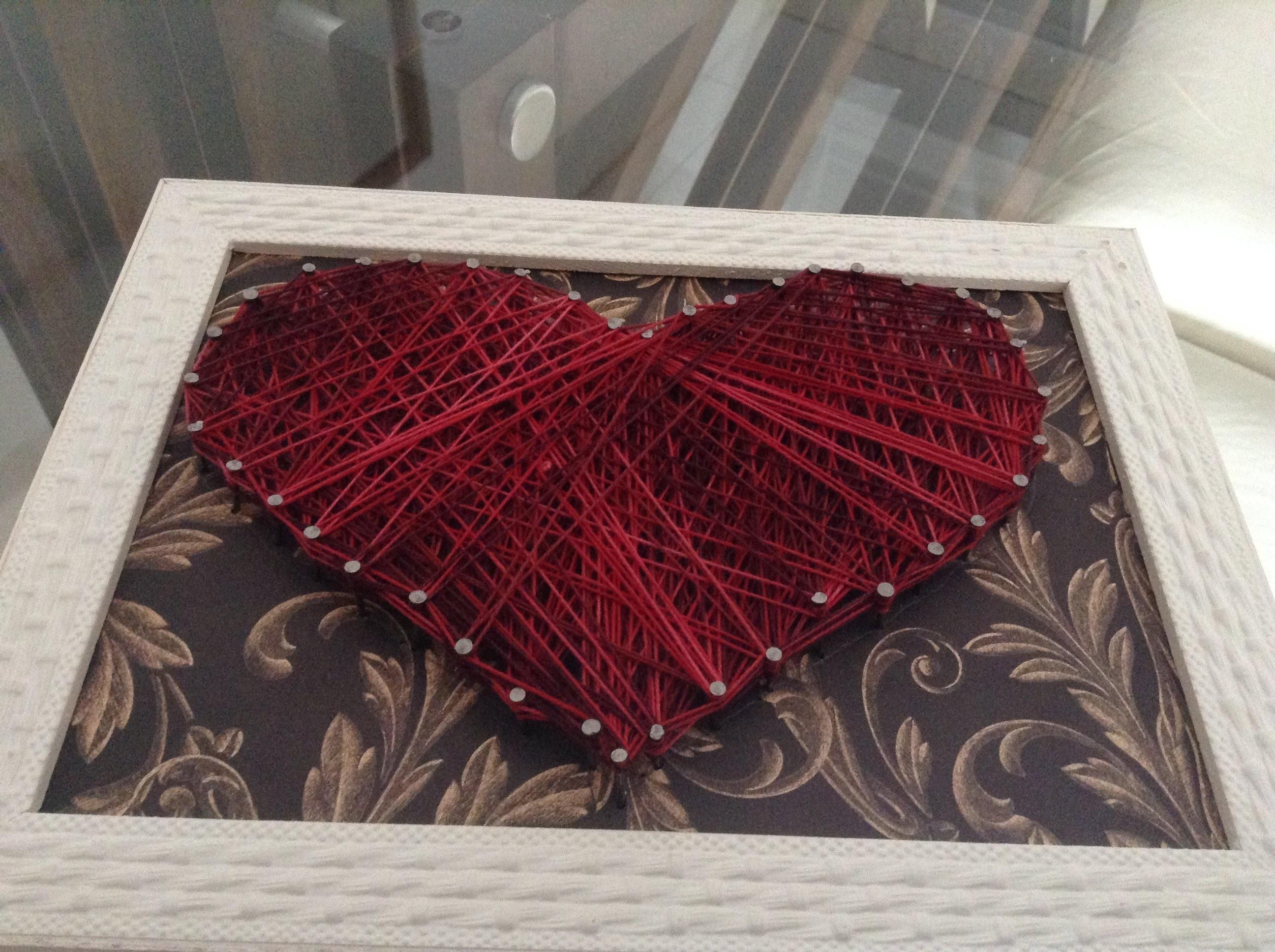 DIY - Quadro teia de coração - tutorial (string art)