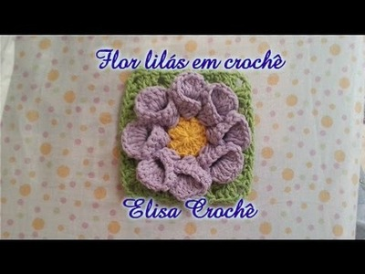 Flor lilás em crochê ( copo de leite) # Elisa Crochê