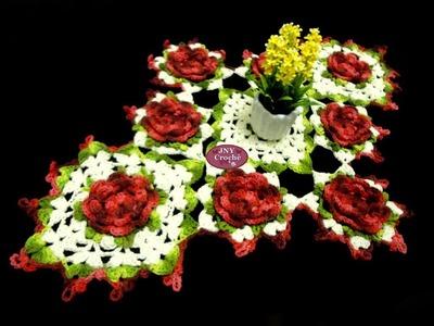 """Caminho de mesa de crochê """"Flores"""" por JNY Crochê"""