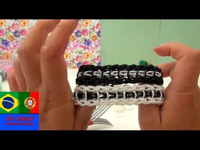 DIY elásticos pulseira estilo escada instruções português GARFO - Loom Bands Ladder Bracelet