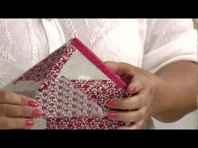 Aprenda a fazer uma linda caixa patch box de cartonagem em tecido para a Páscoa!