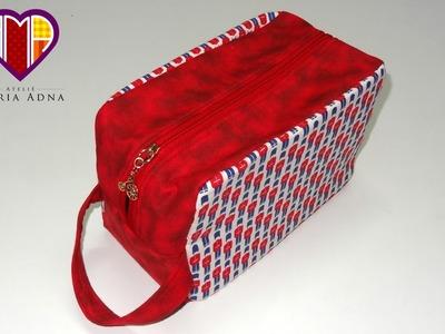 Bolsa necessaire em tecidos Inglesa - Maria Adna Ateliê - Aula de bolsa necessaire em vídeo