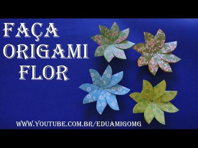Como fazer uma FLOR de Origami, Dobradura de Papel, fácil,Origami Flower