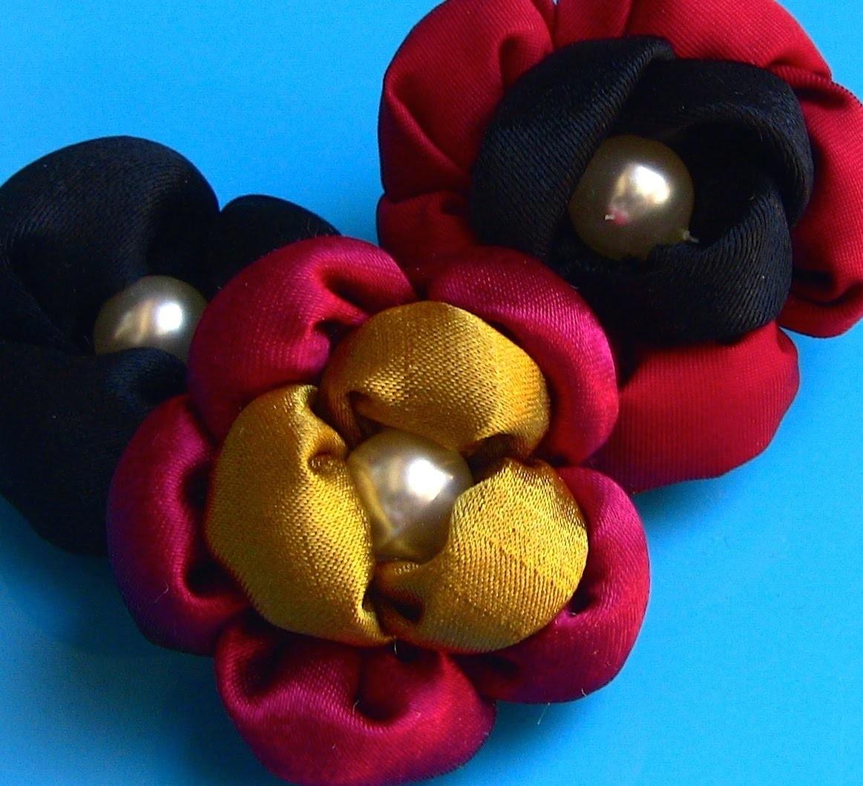 HOW TO MAKE ROLLED RIBBON ROSES- fabric flowers-Flor  de fuxico  com  enchimento  Passo a Passo.
