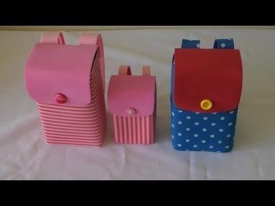 Mochilinhas feitas com caixa de leite
