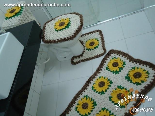 Jogo Banheiro Crochê Girassol - Capa Caixa Acoplada