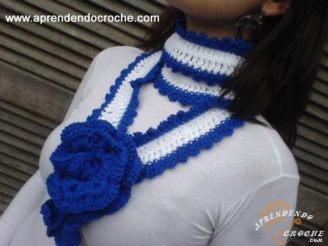 Cachecol Croche Leaves - Aprendendo Crochê