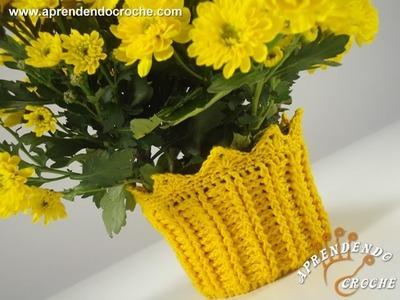 Capa de Crochê para Vasinho de Flor - Aprendendo Crochê