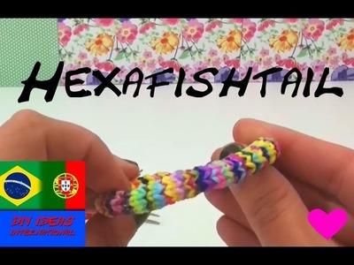 Pulseiras de elástico HEXAFISH com garfo como fazer pulseira hexafish em Português Rainbow Loom