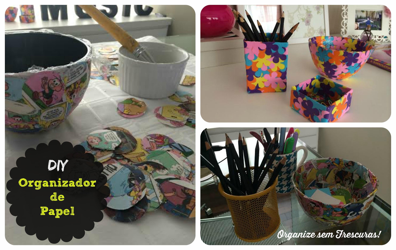 DIY: Organizador feito de jornal, gibi, revista ou papel colorido | Organize sem Frescuras!