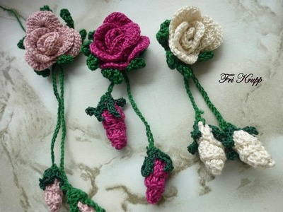 Explicacao de como fazer as Rosinhas delicadas, botao e folha tudo em croche. flor em croche