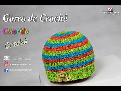 Gorro de crochê colorido Menino - passo a passo - #Professora Simone #crochet