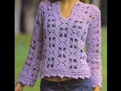 Suéter Calado Lila Fácil a Crochet