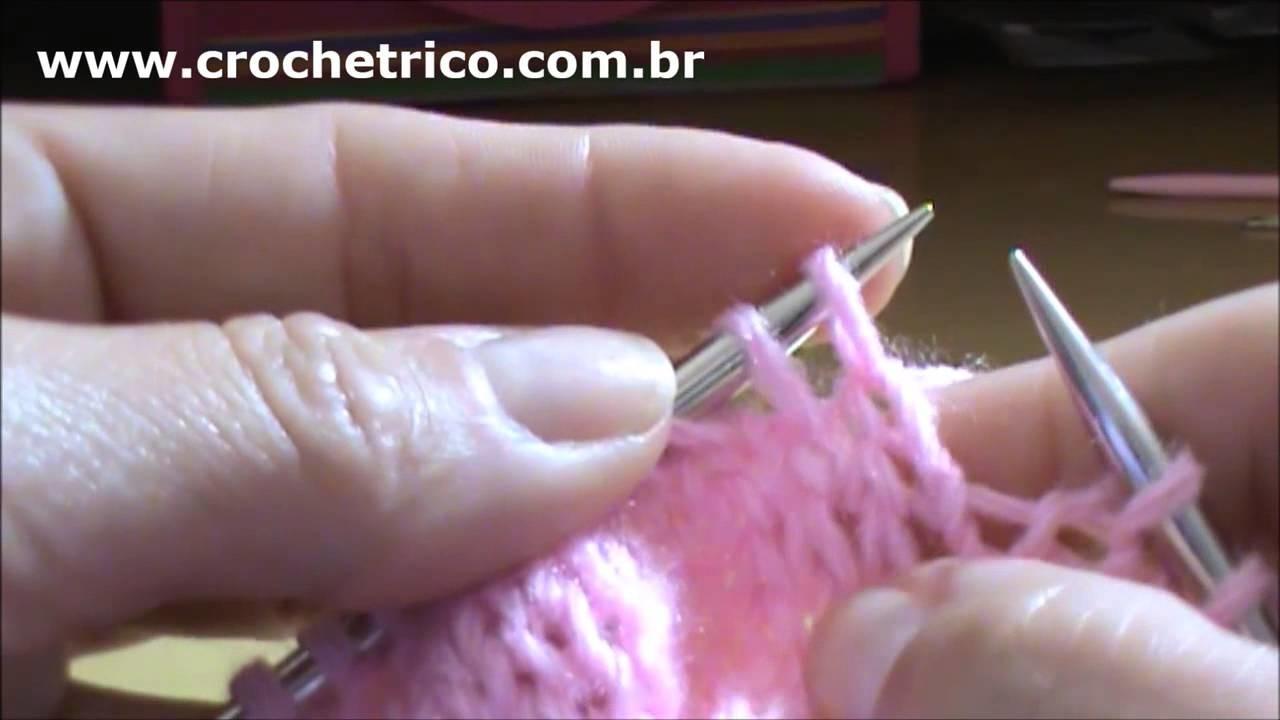 Tricô para Canhotas - Vestidinho Rosa - 3 à 6 Meses - Parte 01.07