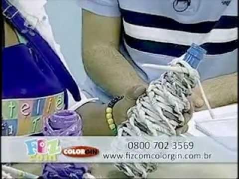 Colorgin no Ateliê na TV - Garrafa feita com rolinhos de jornal e Colorgin Eco Esmalte