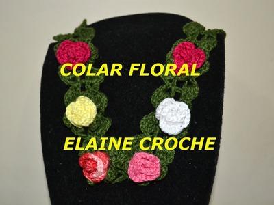 CROCHE PARA CANHOTOS - LEFT HANDED CROCHET - COLAR FLORAL EM CROCHÊ - CANHOTAS