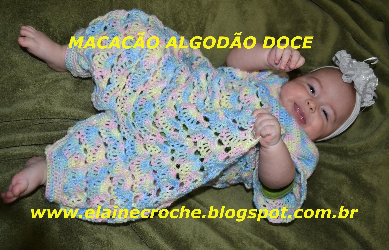 CROCHE PARA CANHOTOS - LEFT HANDED CROCHET - MACACÃO BEBÊ  ALGODÃO DOCE MANGAS E ACABAMENTO CANHOTAS