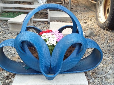 Arte em Pneus, vaso ornamental para flores, decoração para jardins.