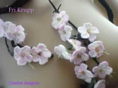 "Cachecol em croche ""Sakura hanami"", 花見crochet scarf, Häkelschal, cherry Blossoms, flor, flower"