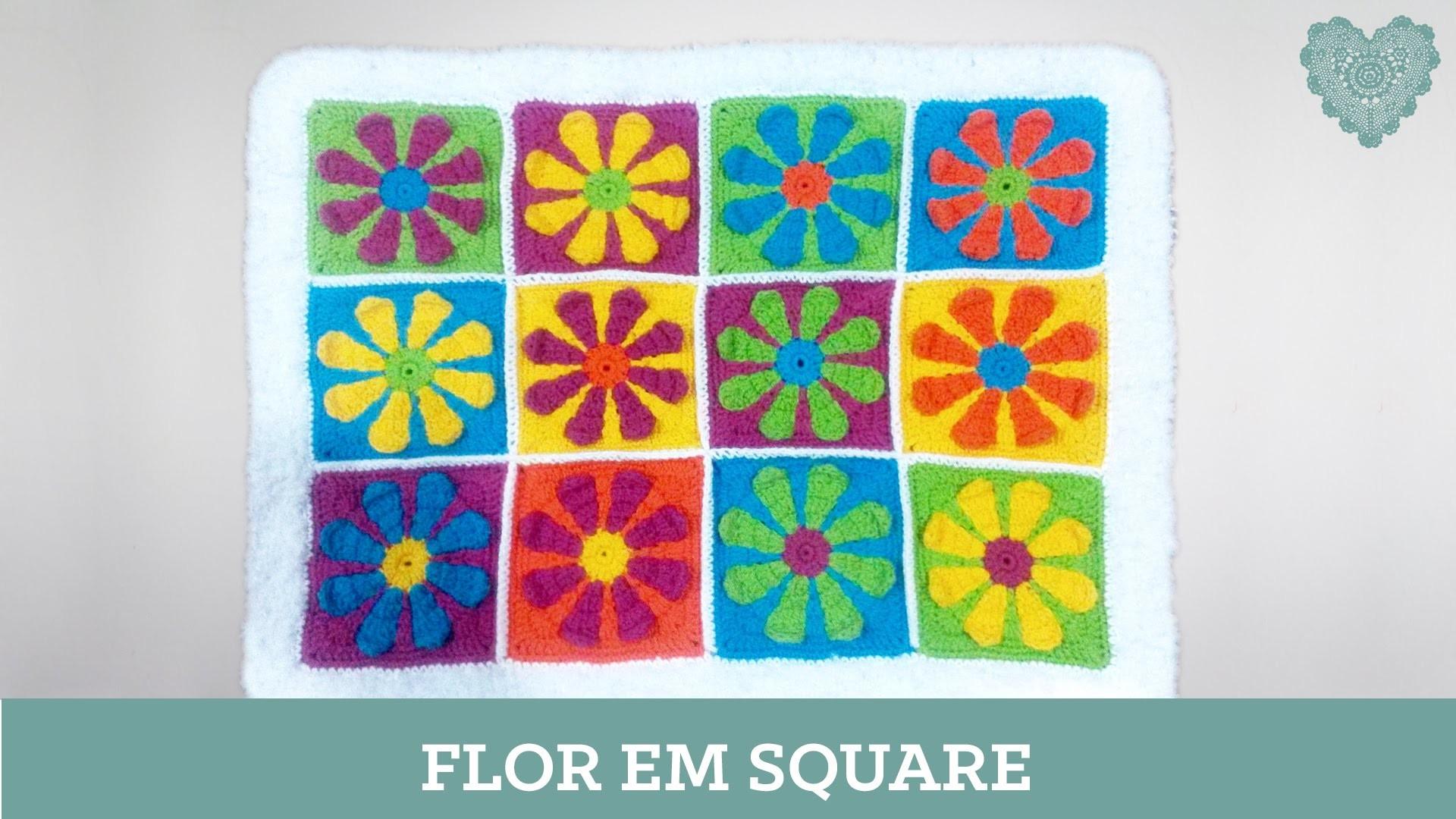 Criações em crochê: Flor em Square | Luciana Ponzo