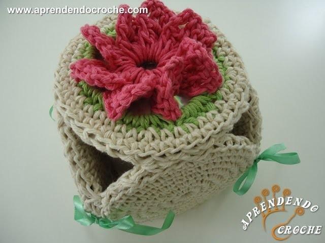 Porta Papel Higiênico de Croche Fiore - Jogo de Banheiro Barbante - 1º Parte