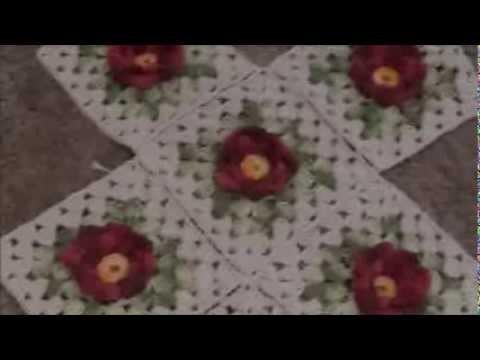 Trilho de Mesa. Passadeira Crochê Primavera- Parte-2