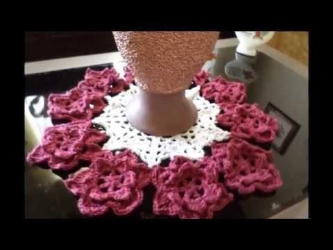 Centros de mesa de crochê com flores