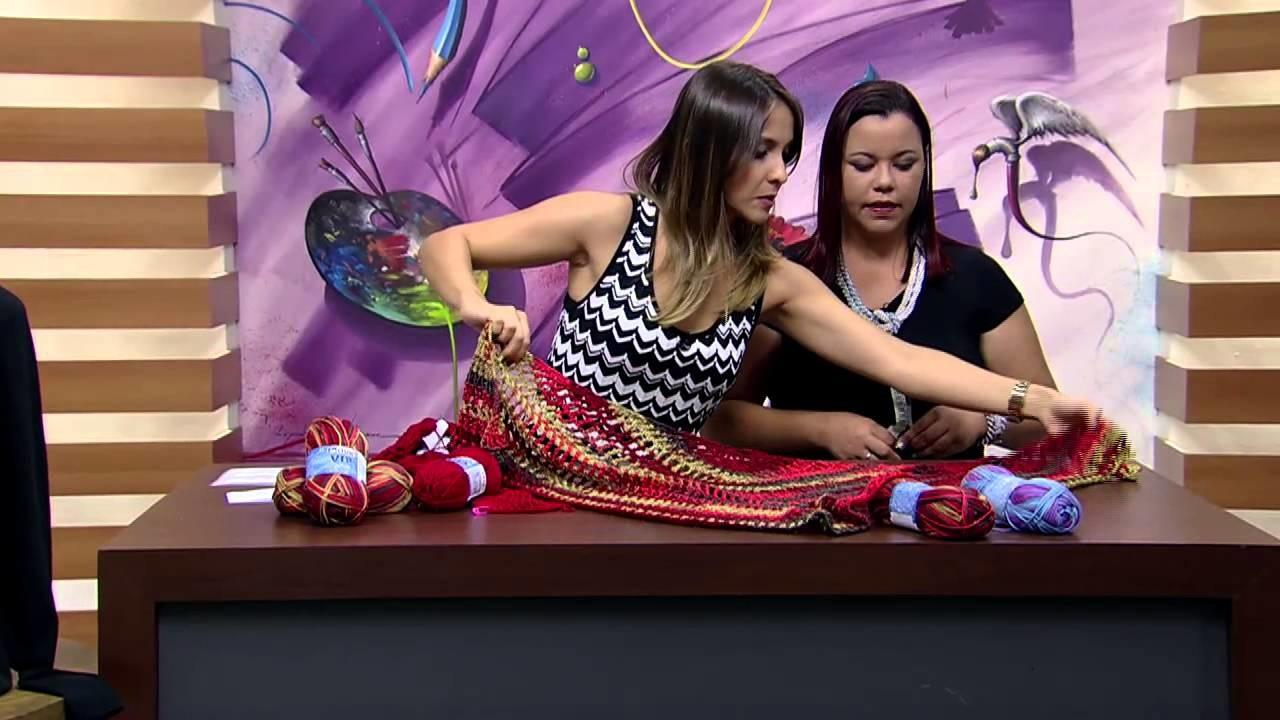 Mulher.com 09.03.2015 Lenço de crochê por Eliete Massi Parte 2
