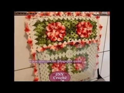 """Capa de fogão de crochê """"Camélias Vermelhas"""" por JNY Crochê"""