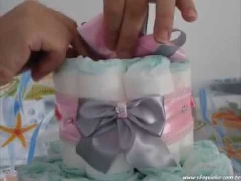 BOLO DE FRALDAS PASSO A PASSO - STEP BY STEP OF THE DIAPER CAKE