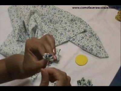 Como fazer uma flor de tecido usando fuxico - parte 4