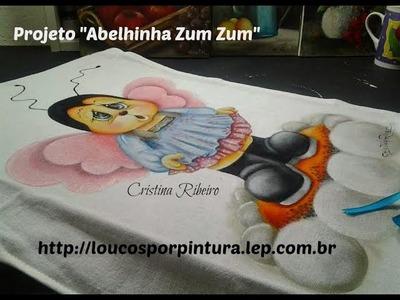 Abelhinha zumzum - Pintura em tecido