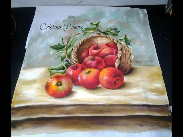 Cesto de maçãs 2. Pintura em tecido.