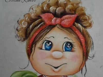 """Como pintar o projeto """"Boneca Cacheada"""" - Pintura em tecido"""