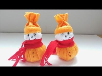 Como fazer um boneco de neve com feltro