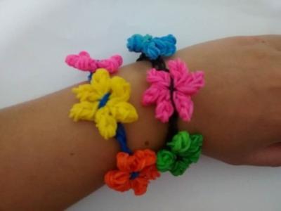♥ Pulseira de elástico Flor Lirios  Rainbow Loom   (sem tear) ♥ loombands