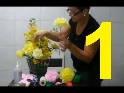 Aula 1 - Como fazer Flores de papel crepom - Artesanato