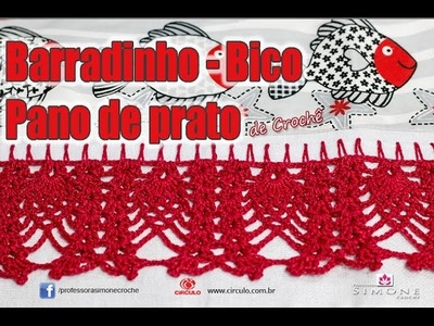 Bico Barrado Ponto Abacaxi em crochê - passo a passo - #crochet #professorasimone