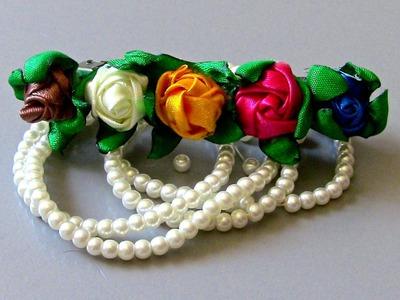 Botoes de rosas em fitas de cetim Passo a Passo-Buttons satin flowers