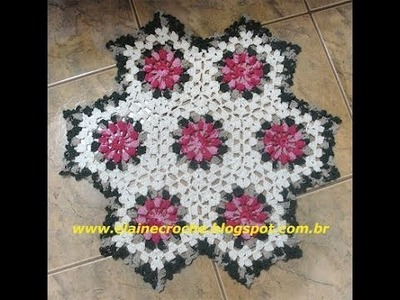 CROCHE - TAPETE HEXAGONO PIPOCA