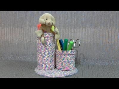 DIY Porta Treco feito com CD e rolinho de papel higienico passo a passo.