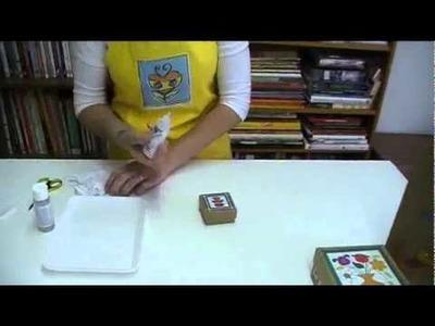 Miniaula de embalagens de papel craft decoradas com decoupage