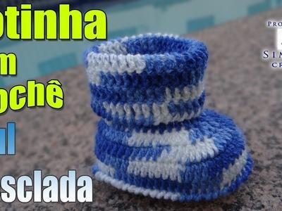 Passo a passo Botinha Crochê Azul Mesclada - Professora Simone
