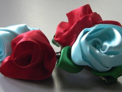 Botoes de Rosas com boca de jacaré  para cabelo   - Fabric flower tutorial