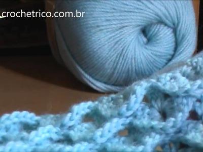 Crochê para Canhotas - Gola em Ponto Escama - Parte 02.02