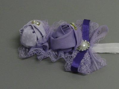 D.I.Y.Faixa para Bebe de tecido e laço com bicos