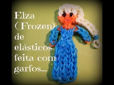 Elsa (frozen) de elásticos,feita com garfos.